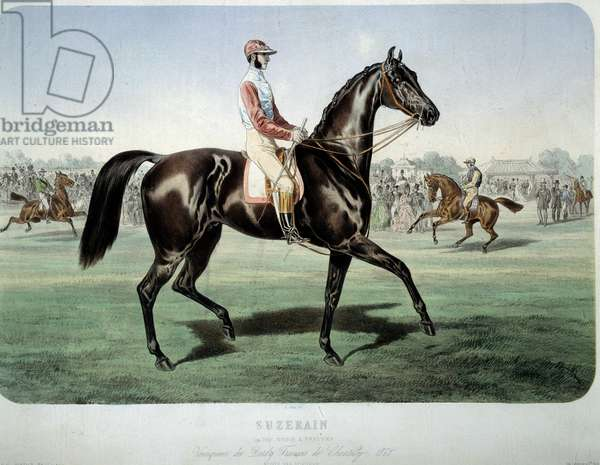 """Racing: """""""" Suzerain, winner of the Chantilly derby in 1868"""""""" Lithography by Albert Adam (1833-?) Private Collection"""