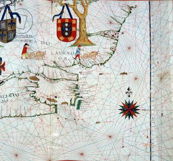 Detail of a map of Labrador (Markland), Eastern Canada, 16th century Paris, B.N.