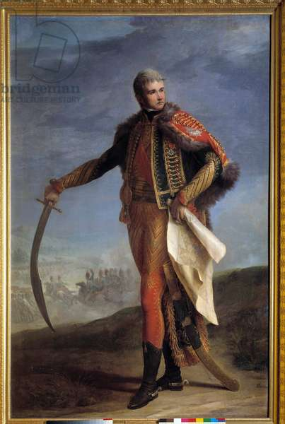 Portrait in foot of Jean Lannes (1769-1809) Duke of Montebello, marechal of Empire Painting by Jean Charles Nicaise Perrin (1754-1831). 1804-1809. Dim. 2,1x1,4 m.  - Full-length portrait of Jean Lannes (1769-1809) Duke of Montebello, Marshal of the Empire. Painting by Jean Charles Nicaise Perrin (1754-1831). 1804-1809. 2.1 x1.4 m. Castle museum, Versailles, France