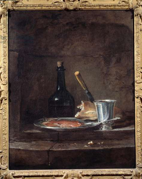 The apprets of a lunch also says the silver cup. Painting by Jean Baptiste Simeon Chardin (1699 - 1779), 1730. Oil on canvas. Dim: 0.81 x 0.64m. Lille, Museum of Fine Arts