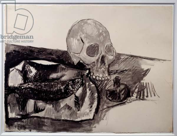 Still life: fish, skull and ink. Drawing by Pablo Picasso (1881-1973), 1908. China ink and wash. Dim: 0,47 x 0,63m. Paris, Musee Picasso.