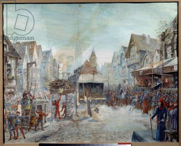 """Hundred Years' War: """""""" Joan of Arc (1412-1431) is led on the butcher"""""""" (Place du Vieux-Marche in Rouen). Painting by Emile Deshays (1875-1946) 1901. Sun. 0,73x0,6 m Rouen, Musee des Beaux Arts Attention! Use of this work may be subject to a third party authorization request or additional fees"""