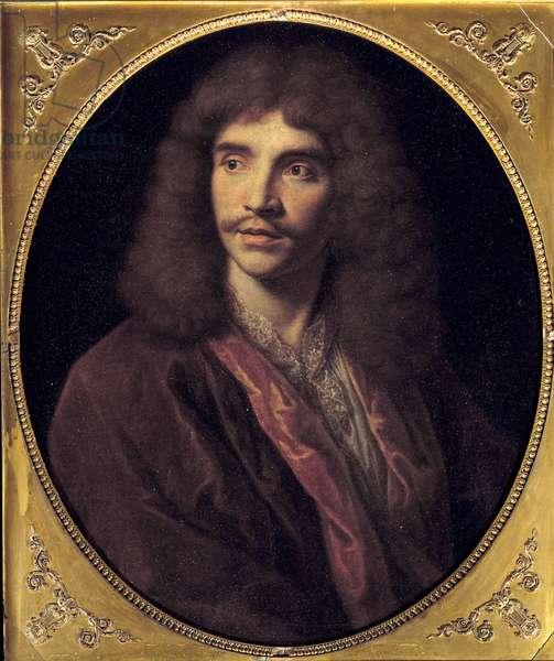 Portrait of Jean Baptiste Poquelin dit Moliere (1622-1673) Painting by Nicolas Mignard (1606-1668) 17th century Sun. 0,73 m.  - Portrait of Jean Baptiste Poquelin known as Moliere (1622-1673). Painting by Nicolas Mignard (1606-1668) - 17th century. 0.73 m.