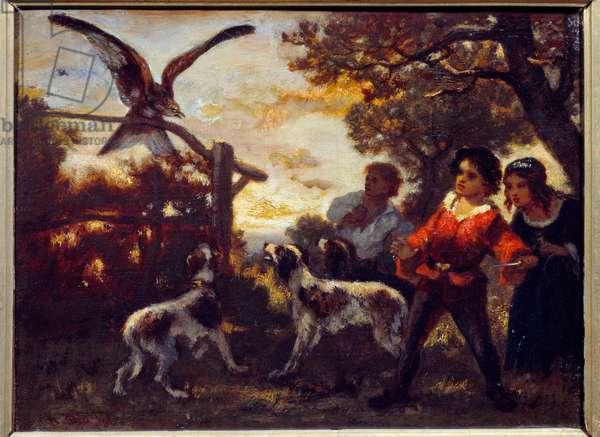 The falcon kids. Painting by Diaz De La Pena (1807-1876), 19th century.