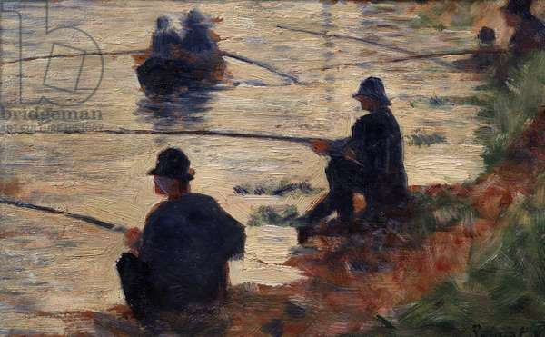 The fishermen at the Study line for the big jatte. Painting by Georges Seurat (1859-1891) 1883 Sun. 0,16x0,25 m Troyes, museum of modern art