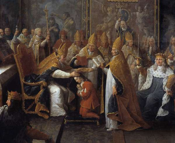 The coronation of Louis XV King Louis XV (1710-1774) was crown and sacred on 25/10/1722 in the cathedrale of Reims by the Archeveque of Reims in the presence of the Regent, the Duke of Orleans (1674-1723) and a large crowd. Detail of Painting by Pierre Subleyras (1699-1749) 1722 Toulouse, Musee des Augustins