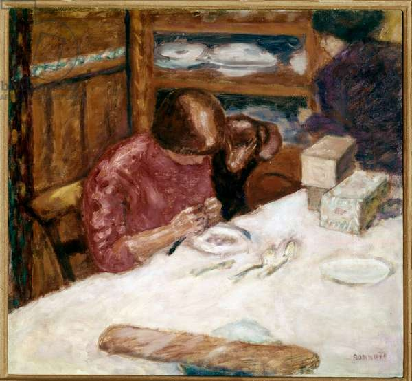Interior Woman busy with domestic spots. Painting by Pierre Bonnard (1867-1947) 1914 Private collection