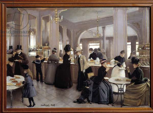 La passerie gloppe avenue des Champs Elysees. Painting by Jean Beraud (1849 - 1935), 1889. Oil on wood, 0.38 x 0.53m. Paris, Musee Carnavalet.