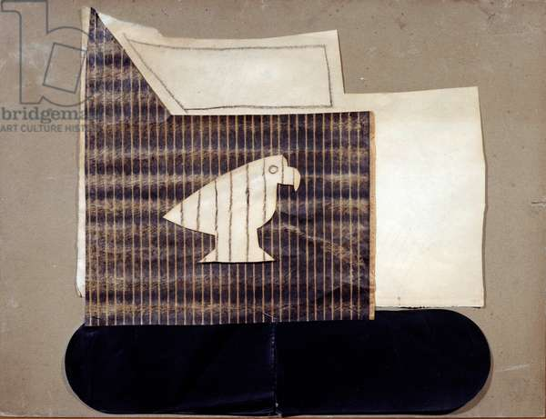 Bird in Cage Paper glue, tar and charcoal on cardboard by Pablo Picasso (1881-1973), 1919. Cardboard Dim 0.41 x 0.59 m. Paris, Musee Picasso