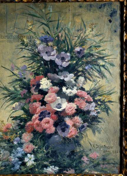 Bouquet of anemones Painting by Edouard Debat Ponsan (1847-1913). 1888. Tours, Museum of Fine Arts
