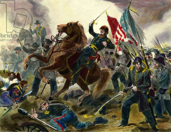 Episode of the Secession War (1862-1865) or Civil War in the United States: American General of Union Forces Ulysses Simpson Grant (1822-1885) during a battle against the troops of the States of Confederation. Engraving of the 19th century Private Collection