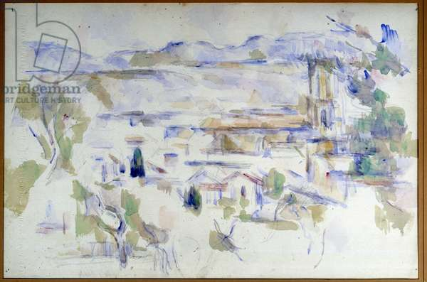 View of the Cathedrale d'Aix en Provence Watercolour on line at the lead mine by Paul Cezanne (1839-1906) 1906 Sun. 0,32x0,48 m Paris, Musee Picasso