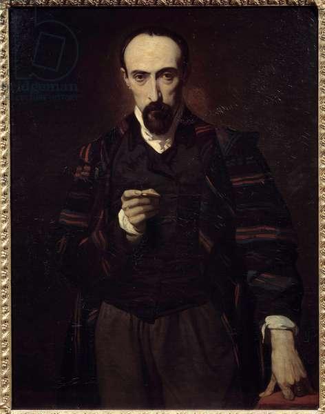 Portrait of Achille Deveria (1800-1857) painter and engraver. Painting by Louis Boulanger (1806-1867), 19th century. Oil on canvas. Dim: 1,16 X 0,90m.