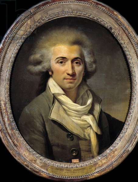 """French Revolution: """""""" Portrait of Philippe-Francois-Nazaire Fabre d'Eglantine (1755-1794), deputee at the Convention"""""""" Anonymous painting. 1775-1800. Dim. 0,62x0,52 m.  - French Revolution: """""""" Portrait of Philippe-Francois-Nazaire Fabre d'Eglantine (1755-1794), deputy in the National Convention"""". Anonymous Painting. 1775-1800. 0.62 x 0.52 m."""
