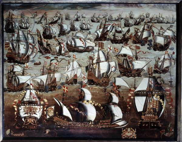 The Invincible Armada: Defeat of the Spanish Armada whose fleet attacked England in August 1588 (probably the Battle of Gravelines of August 8, 1588). Anonymous painting of the English school of the 16th century. Greenwich Maritime Museum.