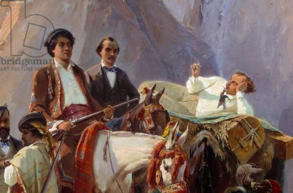 Remembrance of the journey from Paris to Cadiz made in 1846 by Alexandre Dumas and his friends Representation of Alexandre Dumas, father and son, Louis Boulanger, Eugene Giraud, A. Maquet and Desbarolles. Detail. Painting by Eugene Giraud (1806-1881) 1846 Sun. 0,93x0,7 m Paris, Musee Carnavalet