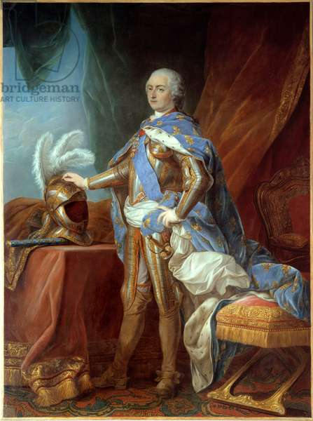 Portrait in foot of Louis XV (1710-1774), in armor, hand placed on a helm. Painting by Carle Van Loo (1705-1765), oil on canvas (271 x 193 cm), 1751. Versailles, musee du chateau - Full-length portrait of Louis XV (1710-1774), in armor, the hand on a helmet. Painting by Carle Van Loo (1705-1765), oil on canvas (271 x 193 cm), 1751. Versailles, Castle Museum