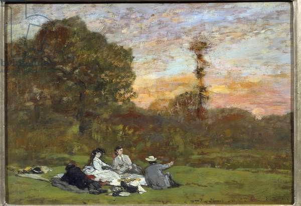 The breakfast on the grass 'Painting by Eugene Louis Boudin (1824-1898) 1866 Sun. 0,17x0,25 m Paris, Musee d'Orsay