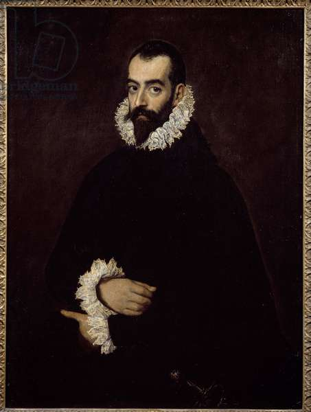 Presume Portrait of the Duke of Benavente Painting by Domenikos Theotokopoulos dit El Greco (1541-1614), 17th century Bayonne, Musee Bonnat