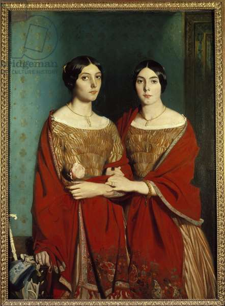 Miss Chasseriau said the two sisters. Portrait of Adele (1810-1869) and Aline (1822-1871) sisters of the artist. Painting by Theodore Chasseriau (1819-1856), 1843. Oil on canvas. Dim: 1,80 x 1,35m.