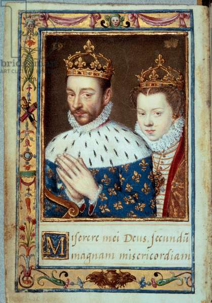 """Portrait of King Charles IX (1550-1574) and Elizabeth of Austria (1554-1592) Queen of France Manuscript page of the """"Book of Hours by Catherine de Medicis"""" (Caterina de Medici) 16th century Paris, B.N."""