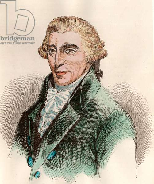 Portrait of Franz Joseph Haydn (1732 - 1809), Austrian composer. Engraving of the 18th century. Private collection.