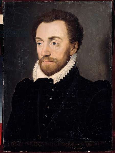 Portrait of Louis I of Bourbon, first Prince of Conde (Bourbon-Conde) (1530-1569) in 1561. Painting of the French school of the 16th century. Dim. 032x0,23m. Versailles, Castles of Versailles and Trianon