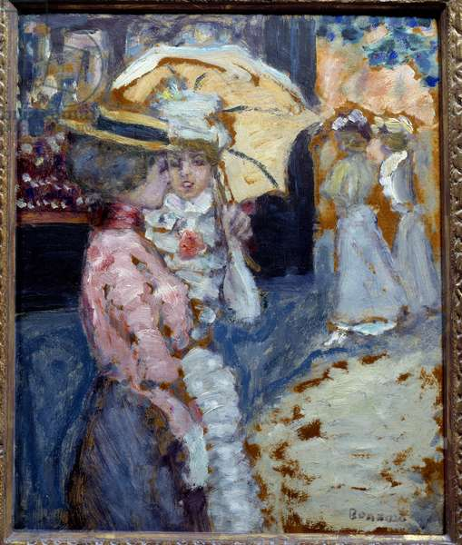 The walk Two elegant young women dressed in fashion Belle Epoque talking under their umbrella. Painting by Pierre Bonnard (1867-1947) 1900 Sun. 0,38x0,21 m Private collection