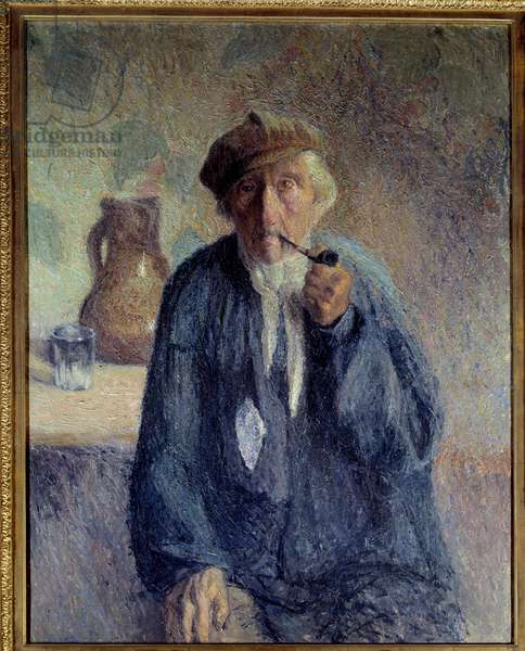 Portrait of an old peasant smoking the pipe Painting by Marcel Couchaux (1877-1939) 20th century Sun. 0,92x0,73 m Rouen, Musee des Beaux Arts Attention! Use of this work may be subject to a third party authorization request or additional fees
