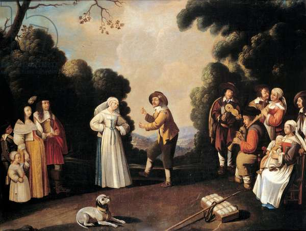 Village dance scene probably at a wedding party, a pregnant woman on the left. Painting of the French school. 17th century Avignon, Musee Calvet