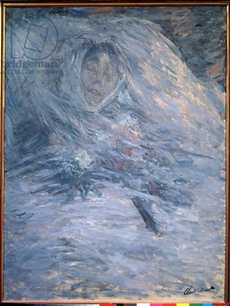 Camille on her deathbed (artist's first wife 1847-1879), 1879. 0.90 x 0.68 cm. Painting by Claude Monet (1840-1926). Musee d'Orsay. - Camille on her deathbed (the artist's first wife, 1847-1879), 1879. 0.90 x 0.68 cm. Painting by Claude Monet (1840-1926). Orsay Museum, Paris