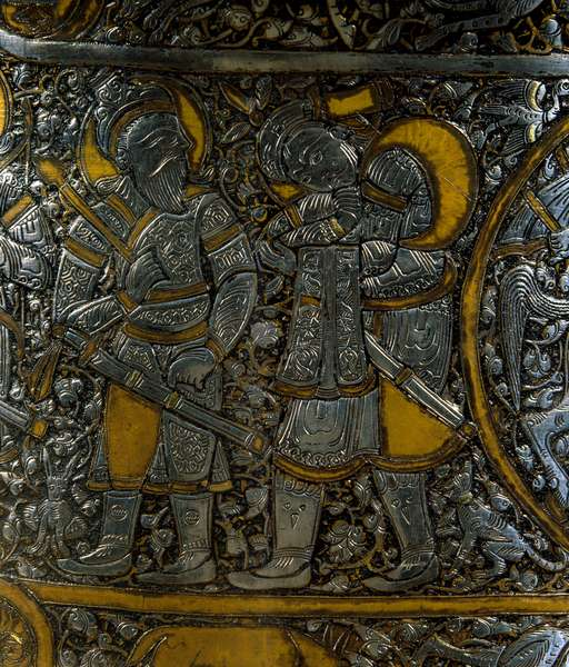 Basin known as the Baptistere of Saint Louis Detail representing warriors. Copper and silver basin made by Muhammed ibn-al-Zayn (Ibn al-Zayn) (14th century). From Egypt or Syria. Paris, Louvre Museum