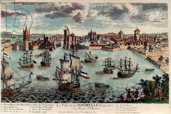 View of the city and port of La Rochelle, France (Charente Maritime, 17). Engraving of the 18th century. Private collection.