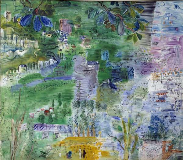 The course of the Seine de Paris has the estuary (right part) Watercolour by Raoul Dufy (1877-1953) 1937 Rouen. Museum of Fine Arts