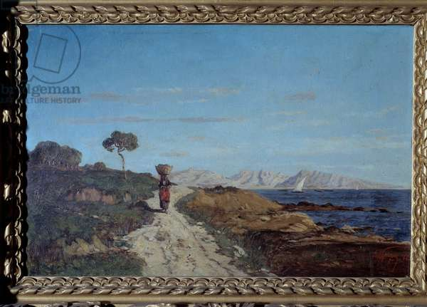 Around Marseille in 1866: sea landscape with woman carrying a basket on her head and walking on a road. Painting by Paul Camille Guigou (1834-1871). 1866. Curious. Perigord Museum