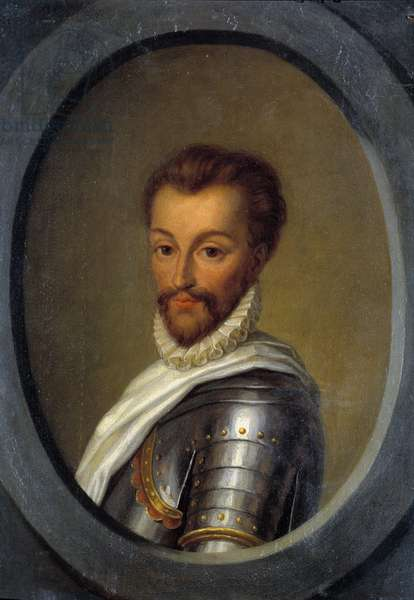 Portrait of Henry I of Bourbon (1552-1588) Prince of Conde Painting by Pierre Andre Cassel (1801-1848) 19th century Sun. 0,26x0,17 m