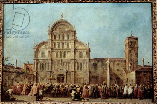The procession of the Doge of Venice to the Church of San Zaccaria on Easter Day (1763). Painting by Francesco Guardi (1712-1793), circa 1766-1770. Oil on canvas. Dim: 0,67 x 1,01m. Paris, Musee Du Louvre - The procession of the Doge of Venice at the Church of San Zaccaria, on Easter Day (1763). Painting by Francesco Guardi (1712-1793), circa 1766-1770. Oil on canvas. 0.67 x 1.01 m. Louvre Museum, Paris