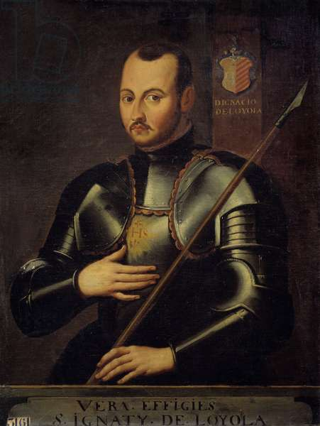 Portrait of Saint Ignatius of Loyola (1491-1556) founder of the Order of Jesuites. Anonymous painting of the French school, 17th century. Oil on canvas. Dim: 0.94 x 0.72m.  - Portrait of Saint Ignatius of Loyola (or Ingacio, Ignace de Loyola, 1491-1556), founder of the Society of Jesus (Jesuits). Anonymous painting of the French School, 17th century. Oil on canvas. 0.94 x 0.72 m.