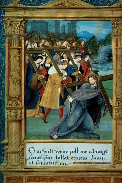 """Catechism: Christ carrying his cross. Manuscript page """""""" Initiatory instruction in the Christian religion for children"""""""" attributed to Johannes Brenz (1498-1570) dedicated to Marguerite d'Angouleme. 1527 Paris, Bibliotheque de l'Arsenal."""