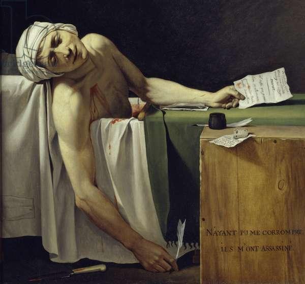 The Death of Marat (John Paul Marat (1743-1793) murdered). Detail. Painting by Jacques Louis David (1748 - 1825). 1793 Sun. 1,62x1,3 m. Louvre Museum Paris