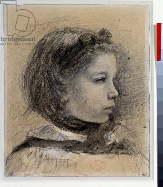 "Portrait of Giulia Bellelli Study for """" the Bellelli family"""" Drawing by Edgar Degas (1834-1917) Around 1858-1859 Dim.0,23 x 0,19 m Paris. Louvre Museum"