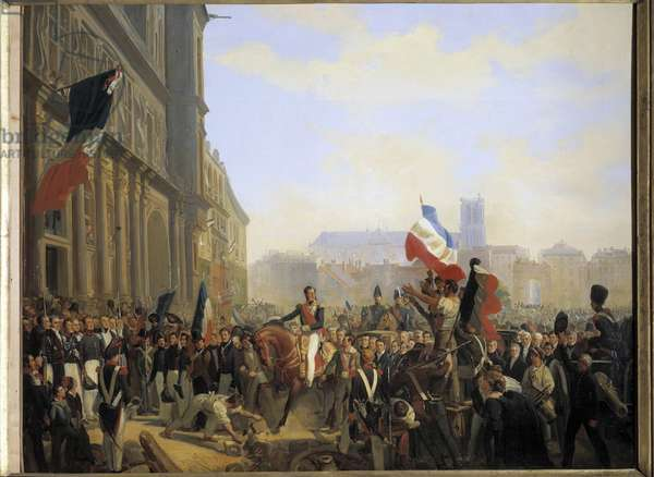 Revolution of July 1830: Louis Philippe, Duke of Orleans (who became King of France Louis Philippe 1er) (1773-1850), lieutenant general of the Kingdom arrived at the City Hall of Paris, July 31, 1830 Painting by Eloi Firmin Feron (1802-1876) 1837 Dim. 149 x 122 cm  - Revolution of July 1830: Louis Philippe, Duke of Orleans (future King Louis Philippe of France I) (1773-1850), general lieutenant of the Kingdom, arriving to the City Hall in Paris, 31 July 1830. Painting by Eloi Firmin Feron (1802-1876), 1837. 149 x 122 cm.