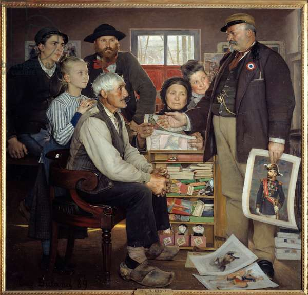 Baker propaganda scene. A baker is trying to convince an old farmer to join the party. Painting by Eugene Buland (1852-1927), 1889. Oil on canvas. Dim: 1,80 x 1,90m. Paris, Musee d'Orsay