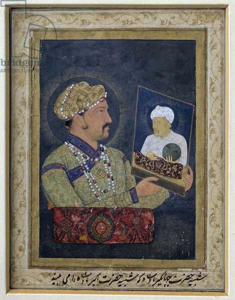 "Oriental Art: ""Portrait of the Mughal Emperor Djahangir (1569-1627) holding in his hands the portrait of his father Akbar (1542-1605) around 1614"". Painting with watercolour and gouache by Abe l'Hasan (1st half of the 17th century), Sun. 0,12x0,08 m. Paris, Guimet Museum, National Museum of Asian Arts"