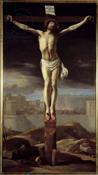 Christ on the cross. Painting by Philippe De Champaigne (1602-1674) Ec. Flam., 17th century. Oil on canvas. Dim: 1,47 x 0,80m.