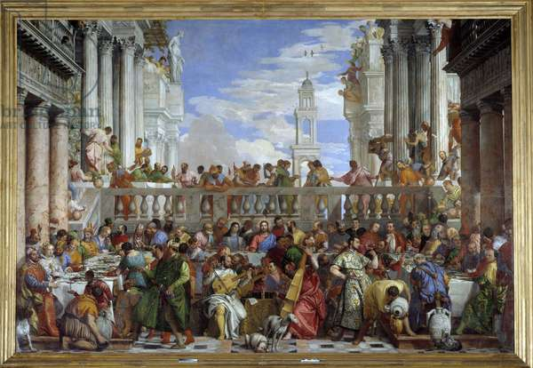 "The Wedding of Cana (Le nozze di Cana) (Miracle of the transformation of water into wine"""" Painting by Paolo Caliari dit Paolo Veronese (1528-1588), 1563, Musee du Louvre"
