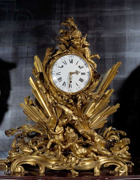 Pendulum style Louis XV. 1755. Movement manufactured by Jean Martinot (1698/9 -?). Creation of the case: Gallien. France, 18th century. Versailles, Musee Du Chateau