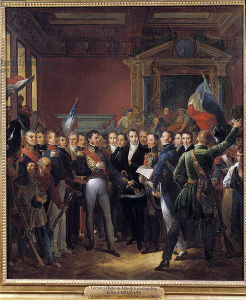 """Episode of the Revolution of 1830, day of July: the lieutenant general of Louis-Philippe d'Orleans (who became King of France Louis Philippe I) (1773-1850): """""""" reading at the Hotel de Ville de Paris of the declaration of the deputes and of the proclamation of Duke Louis Philippe d'Orleans Lieutenant-General of the Kingdom on 31/07/1830"""" Painting by Francois Dubois (1790-1871) 19th century Sun. 1,3x0,86 m."""