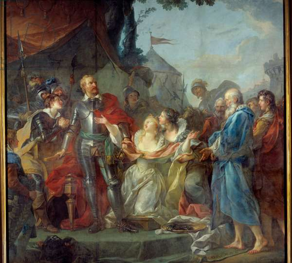 The siege of Calais in 1347 was the devouement of Eustache of Saint Peter, the best known of the six bourgeois of Calais, who went to the king of England Edward III, to plead for the grace of the inhabitants of Calais (August 1347). Painting by Jean Simon Berthelemy (1743-1811), 19th century. Laon, Museum of Fine Arts