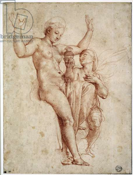 Psyche presenting to Venus the water of the Styx. Drawing a la sanguine by Raffaello Sanzio dit Raphael (1483-1520), 16th century. Dim: 0.26 X 0.19m. Paris, Musee Du Louvre